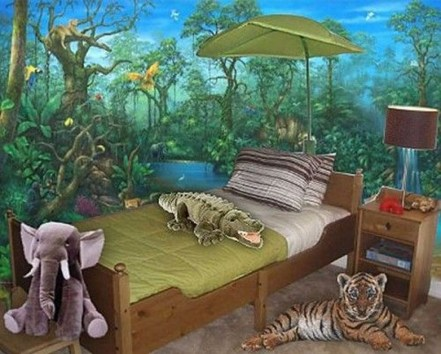 Charming Kids Bedroom Ideas With Jungle Theme To Try35