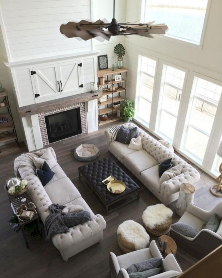 Gorgeous Country Farmhouse Decor Ideas For Living Room06