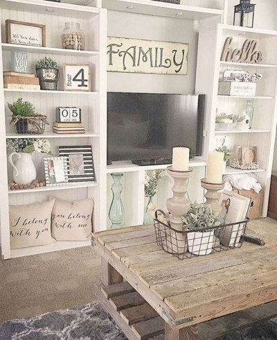 Gorgeous Country Farmhouse Decor Ideas For Living Room09