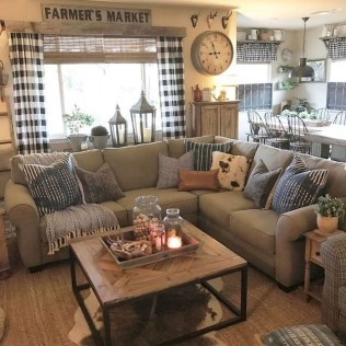 Gorgeous Country Farmhouse Decor Ideas For Living Room46