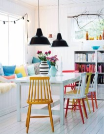 Stunning Dining Room Design Ideas With Multicolored Chairs06