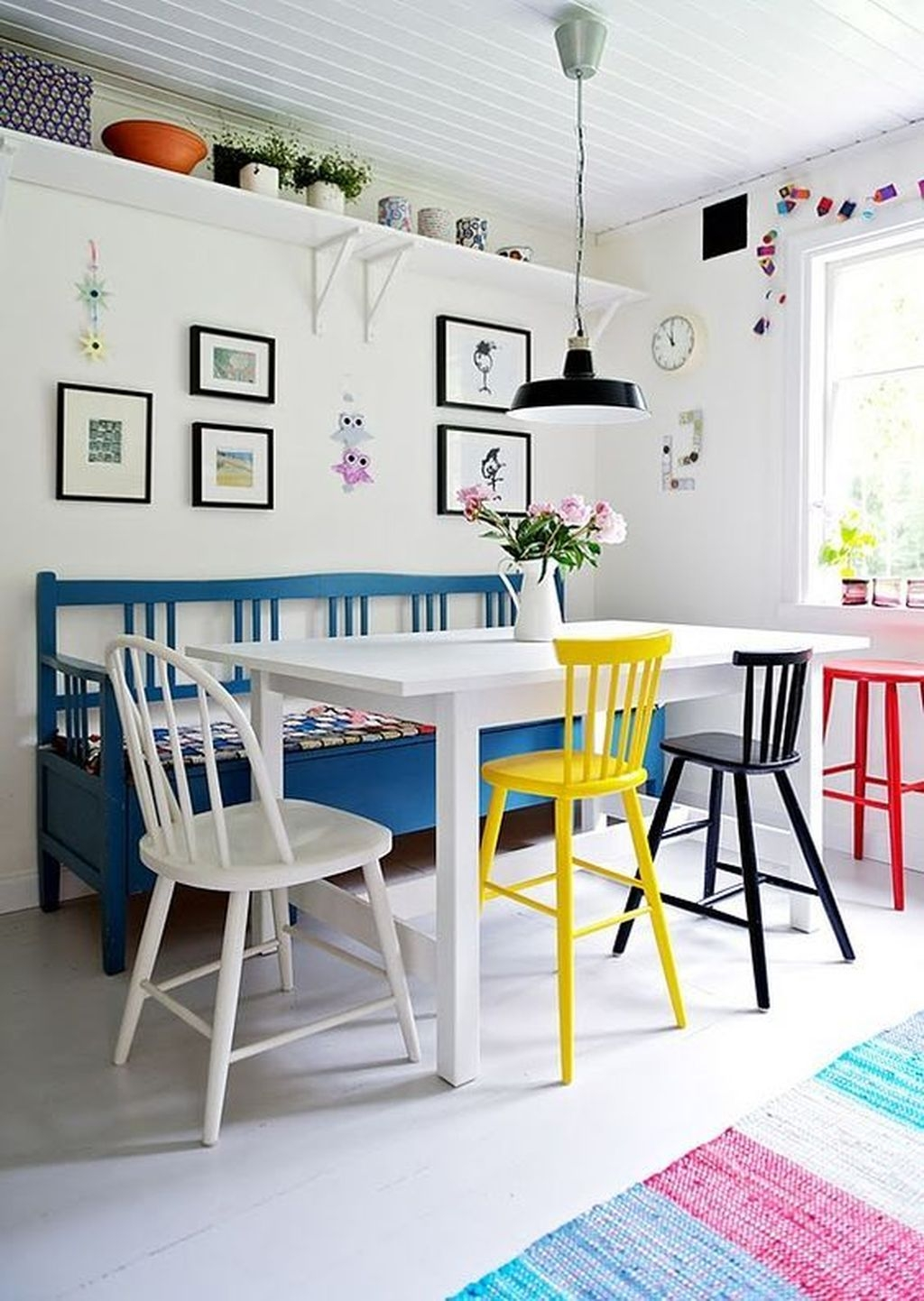 Stunning Dining Room Design Ideas With Multicolored Chairs20