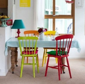 Stunning Dining Room Design Ideas With Multicolored Chairs24
