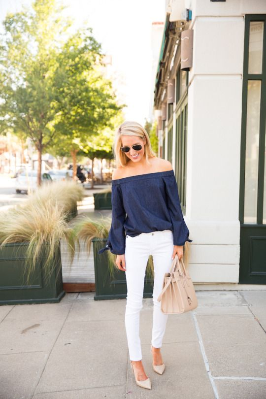 off shoulder op skinny jeans trend