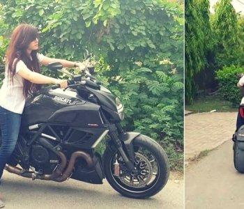 Checkout Rabi Pirzada Riding a Ducati Heavy Bike in Lahore