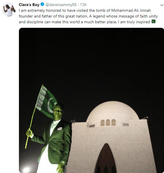 Darren Sammy Paid Tribute To Quaid-E-Azam last night and someone please give him citizenship already
