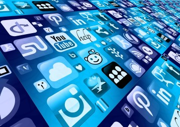 Mobile Phone Icons of Social Media