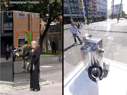 Public semi-transparent toilet