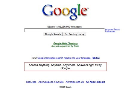 The Google Logo was not centered until 2001