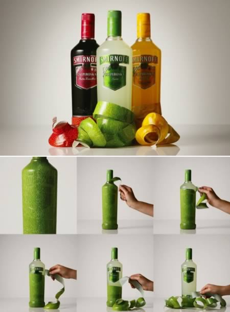 Vodka bottles that you can peel off