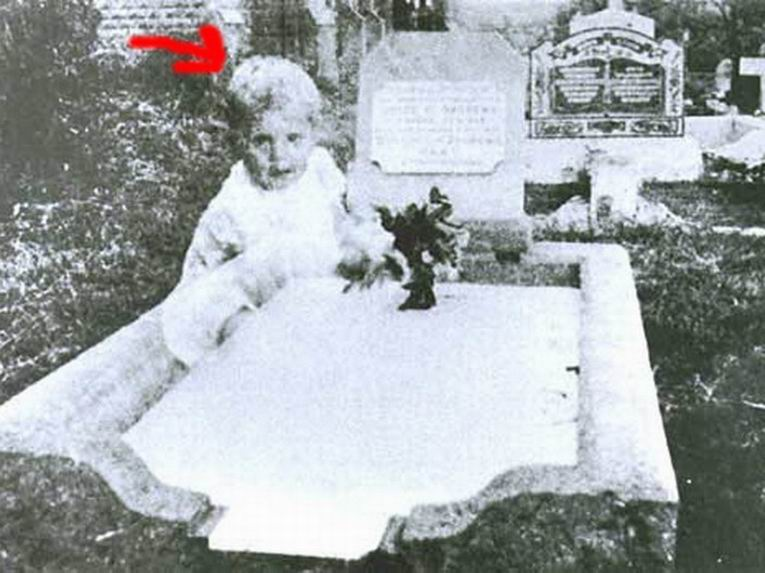 Baby ghost in the cemetery