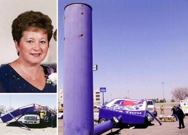 Dog seller tragically killed instantly by a falling Taco Bell Sign