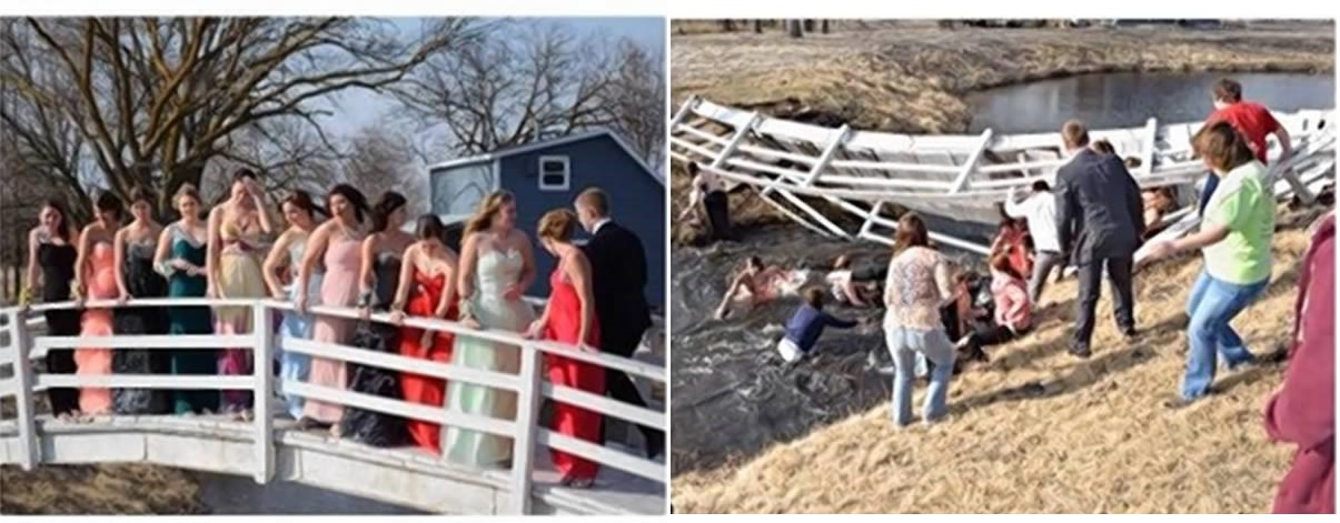 Teens dropped down when the bridge collapsed under their weight
