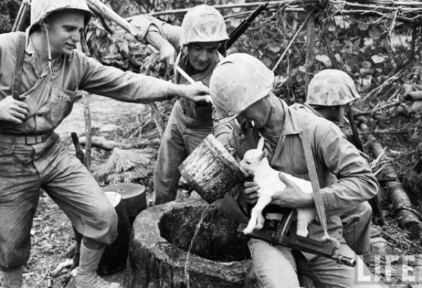 This brave soldiers who helped a baby goat