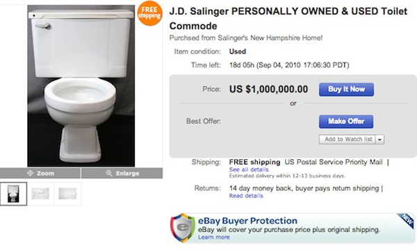 Famous Author J. D. Salinger's Toilet Goes For Sale on EBay for $ 1 Million