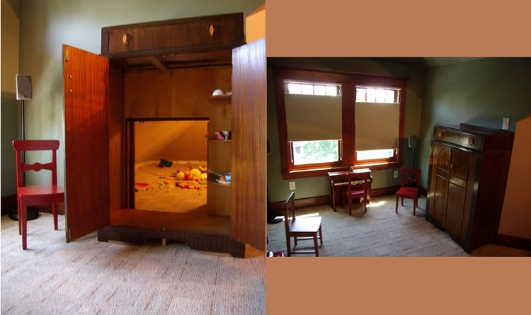Narnia inspired wardrobe that leads to hidden playroom