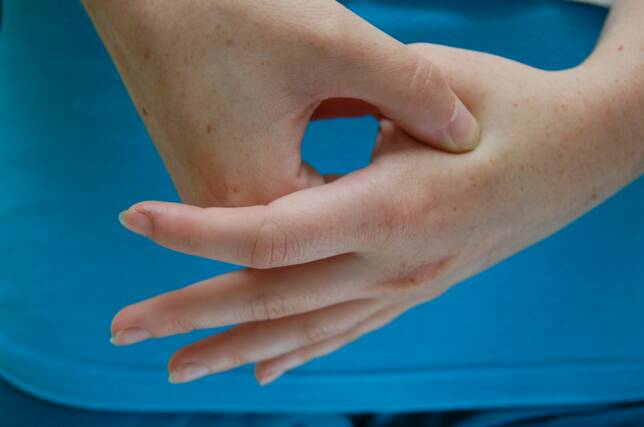 The area between your thumb and index finger