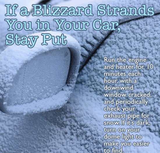 Do not leave from your car in a blizzard