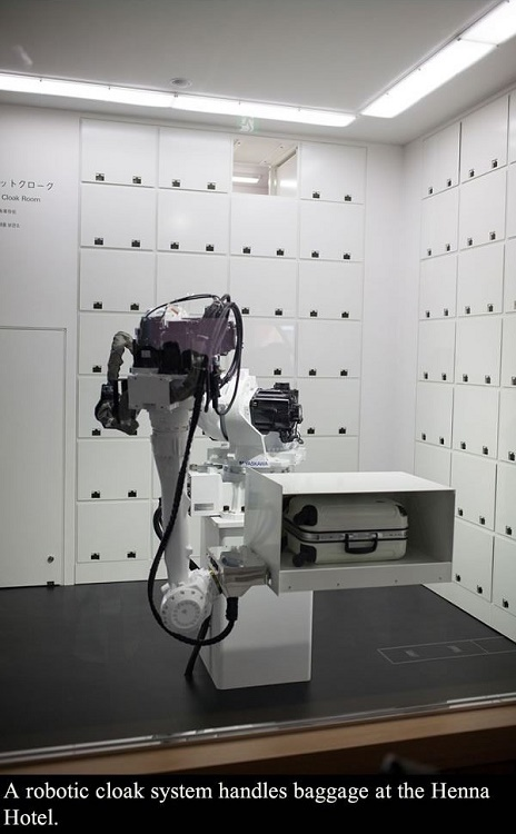 The luggage is handled by expert robotic hands