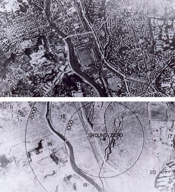 The bombings of Hiroshima and Nagasaki in August 1945