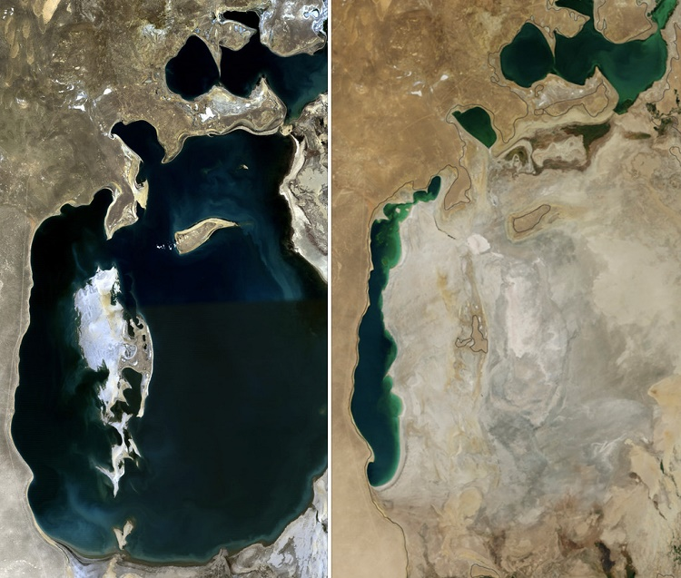 Aral Sea, 1989 and 2014