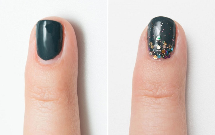 Hide a bad manicure with glitter effect