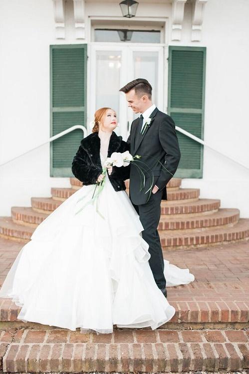 Madeline wears several beautiful wedding gowns