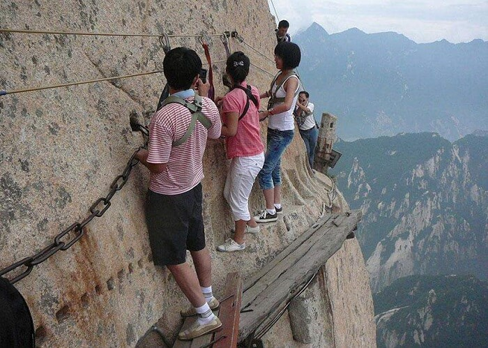 Traversing on Mountain Huashan, China