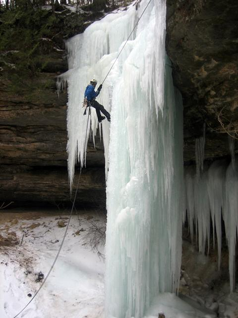 Waterfall ice climbing