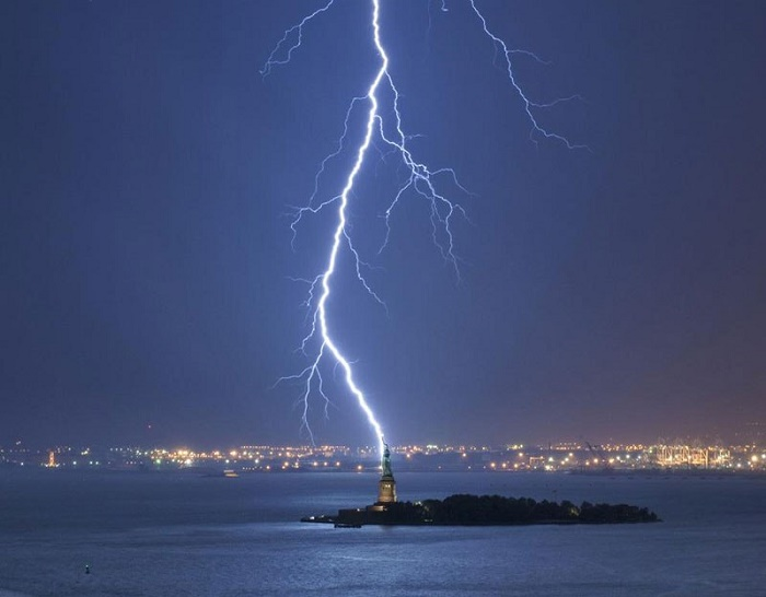 lighting-struck Statue of Liberty