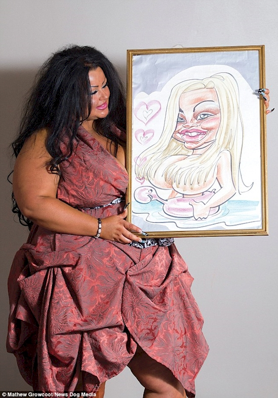 Krystina Butel after surgery with cartoon pic