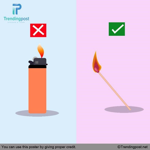 Use Matches Instead Of Petrol Lighters