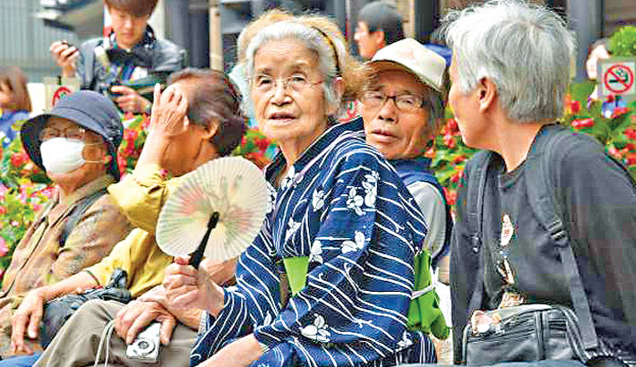 Old japanese people sitting together