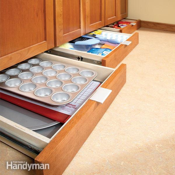 Drawers beneath cabinets