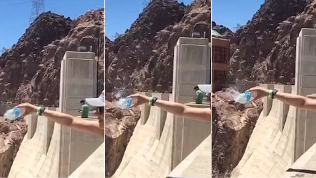 Shocked After Pouring Water over the Dam