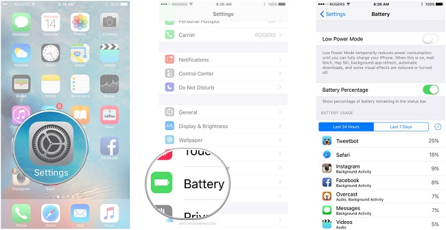 Locate the source of battery drain out