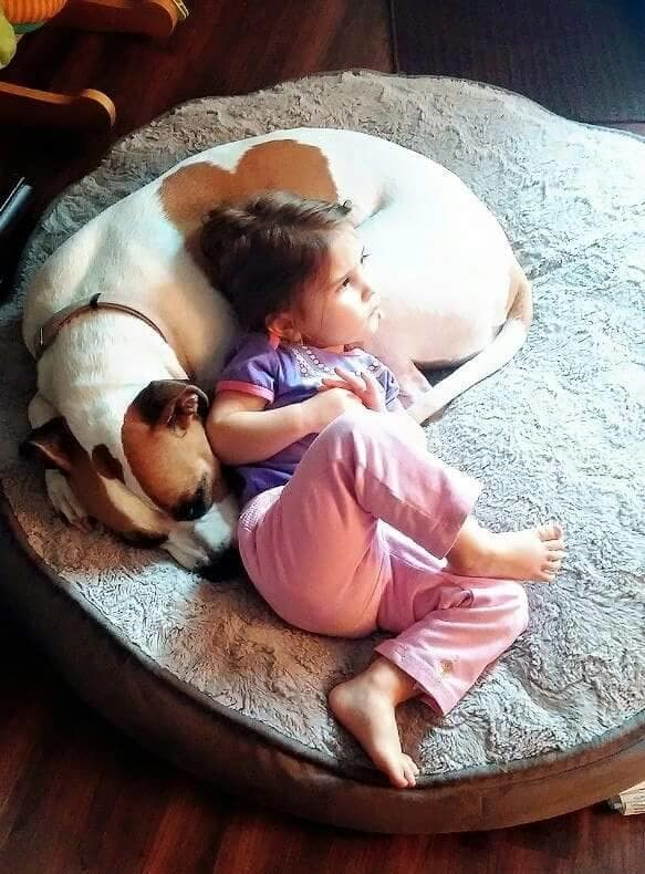 Mya with her pet dog