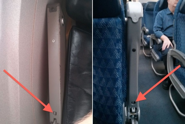 Aisle and window seats armrests