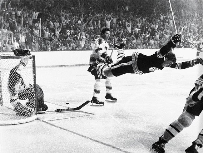 Bobby Orr scoring the winning goal in Stanley Cup 1970