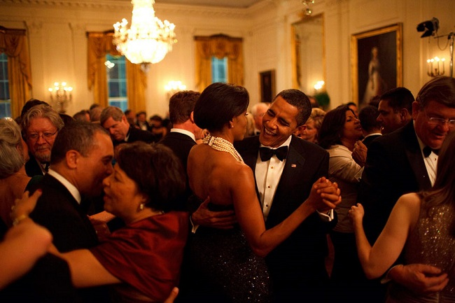 Michelle Obama dancing with Barack Obama
