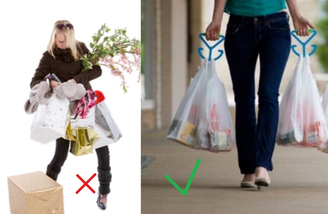 Carrying bags from the supermarket