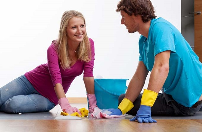 moping floor with wife