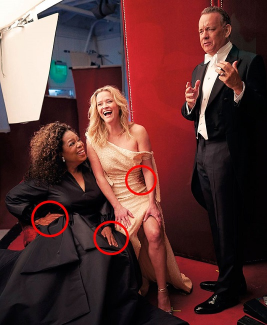 Oprah responded humorously to the three hands in the picture
