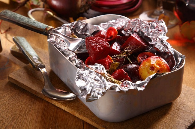 Food in aluminum foil