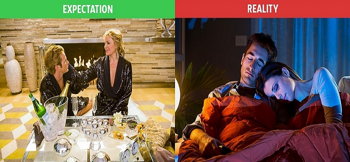 Romantic weekend expectation vs reality