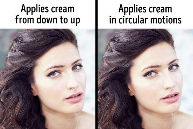 When applying cream