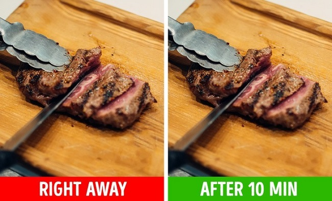 Cutting meat without letting it rest first