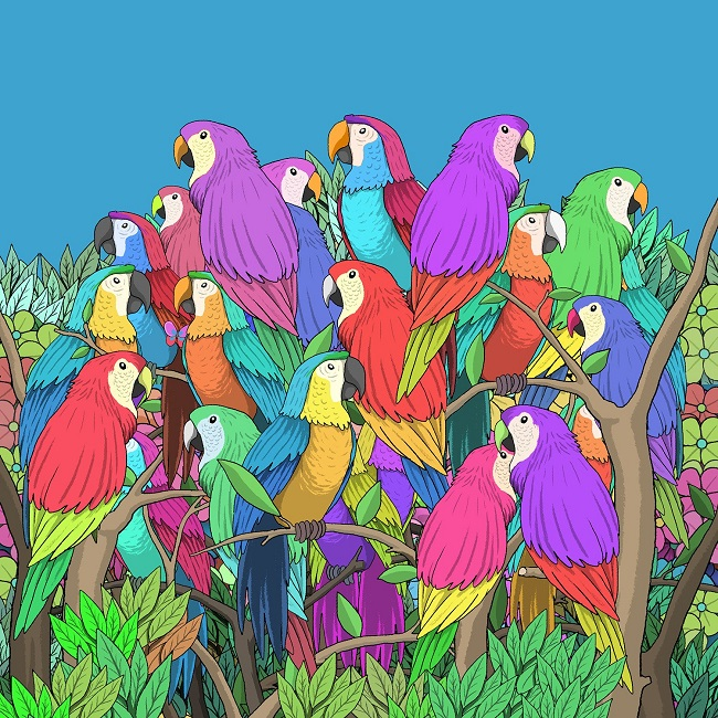 Find the butterfly among the parrots
