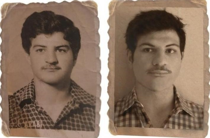Father in 1980s vs. son in present-day