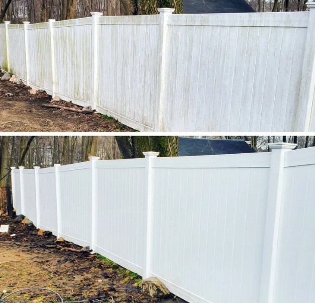 The white fence shines